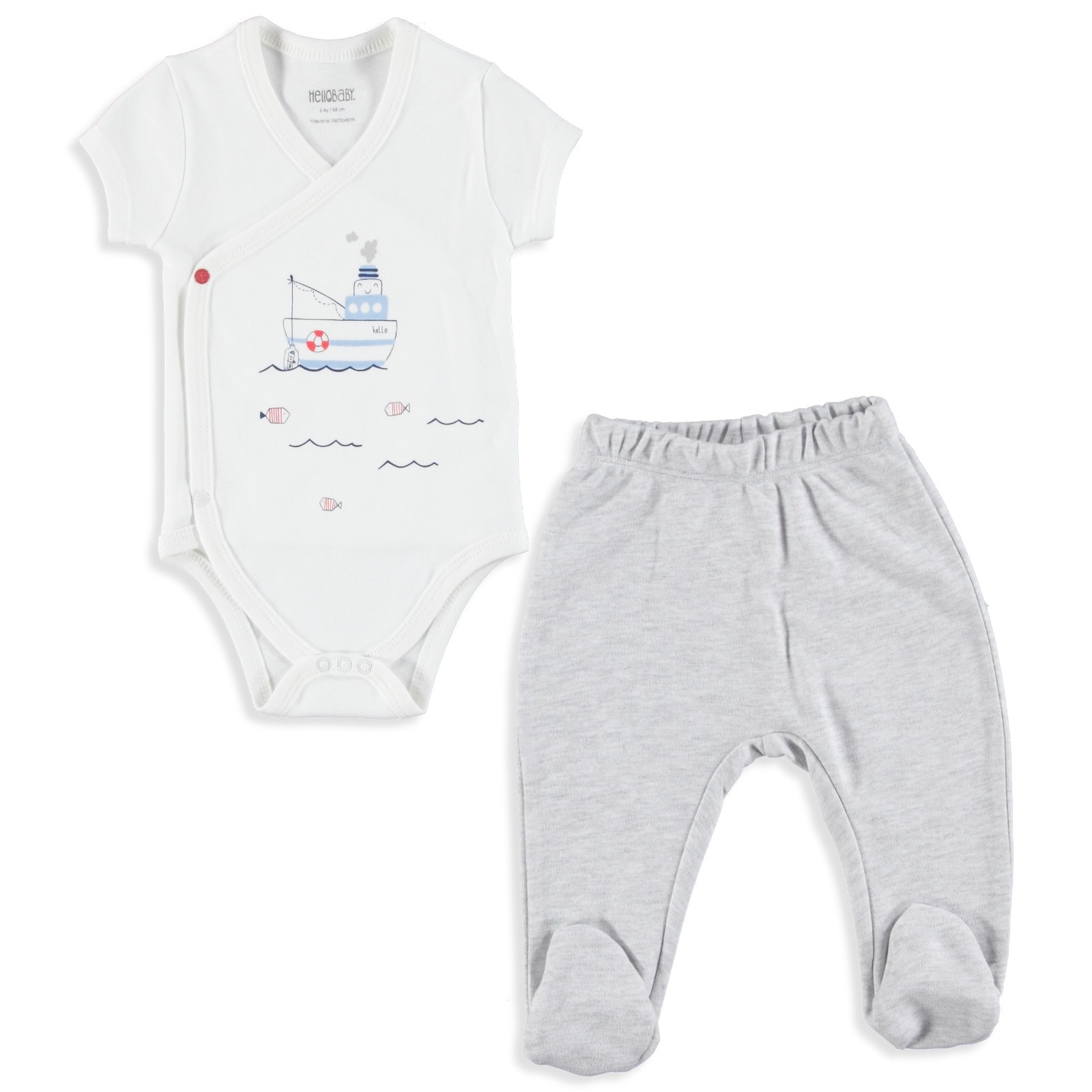 Ebebek HelloBaby Baby Boy Little Fisher Bodysuit Trousers Set
