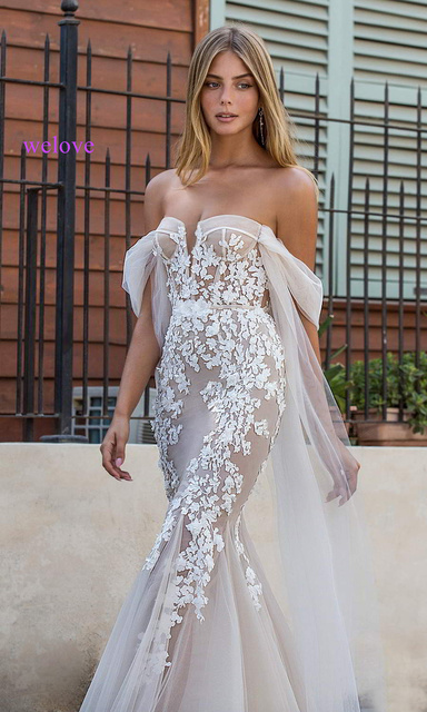 Sexy wedding dress 2021 appliques flower robe de mariee elegant bride dress lace wedding gowns beautiful mermaid bridal gown 4