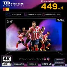 Televisores Smart TV 58 Pulgadas TD Systems K58DLJ12US. UHD 4K HDR, DVB-T2/C/S2, HbbTV [Envío desde España, garantía de 2 años]