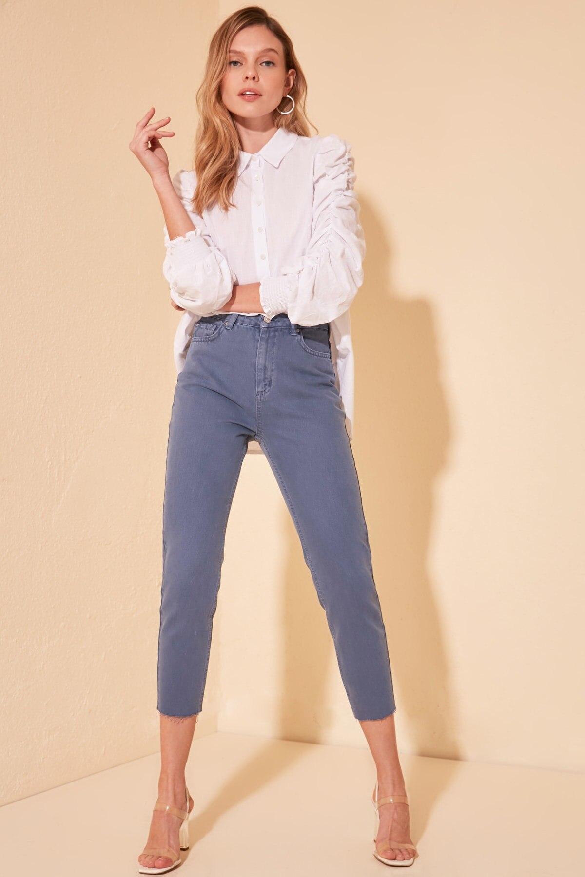 Trendyol-Flushing Pettitoes Discrete High Bel Mom Jeans TWOSS20JE0406