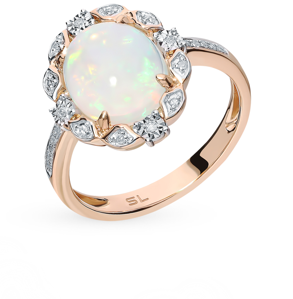 Gold Ring With Opal And Diamonds Sunlight Sample 585