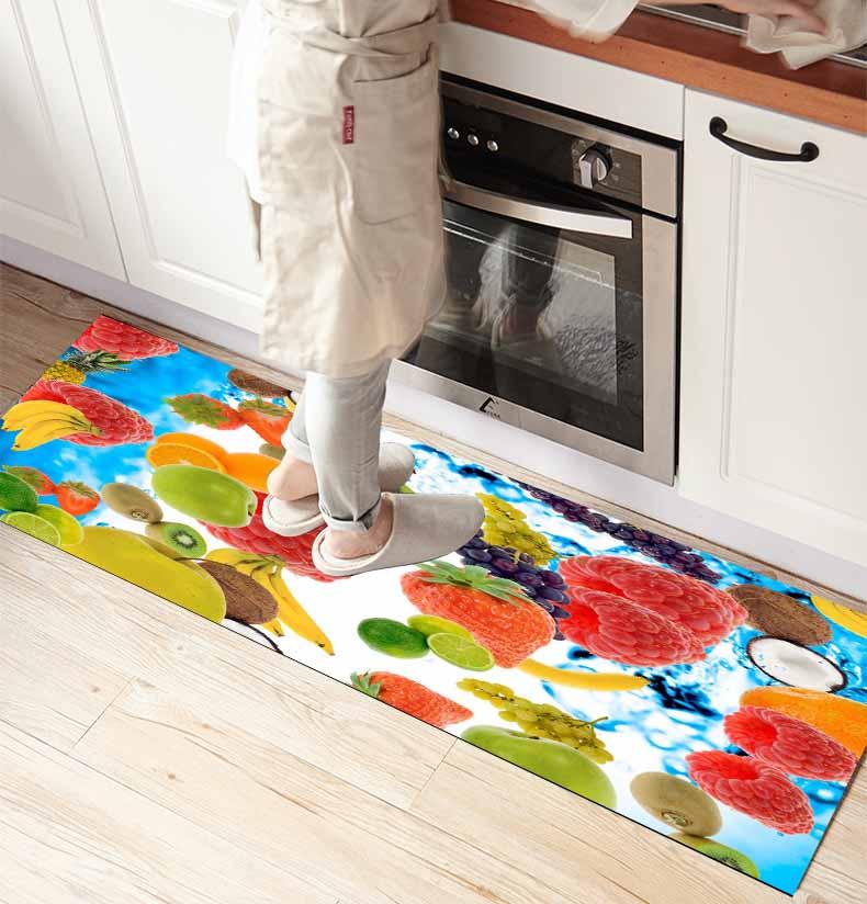 Else Fresh Fruits Strawberry Grapes Apple 3d Print Non Slip Microfiber Kitchen Counter Modern Decorative Washable Area Rug Mat
