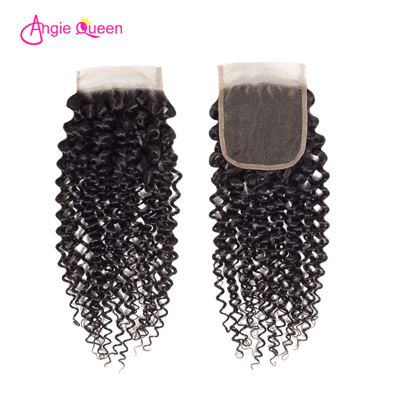 ANGIE QUEEN Brazilian Hair Kinky Curly Virgin Human Hair Closure Deal Natural Black Remy Hair Lace Closure 8 To 20 Inches 150%