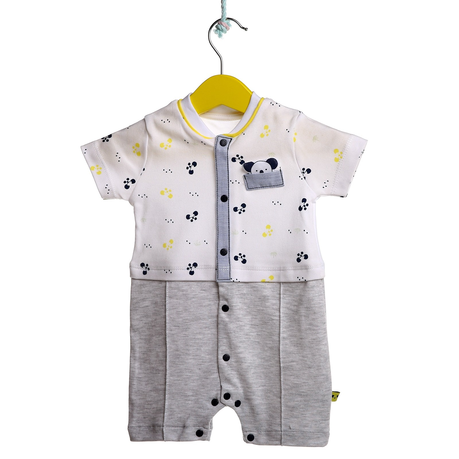 Ebebek Mymio Summer Baby Boy Cute Koala Poplin Short Sleeve Snaps Neck Jumpsuit