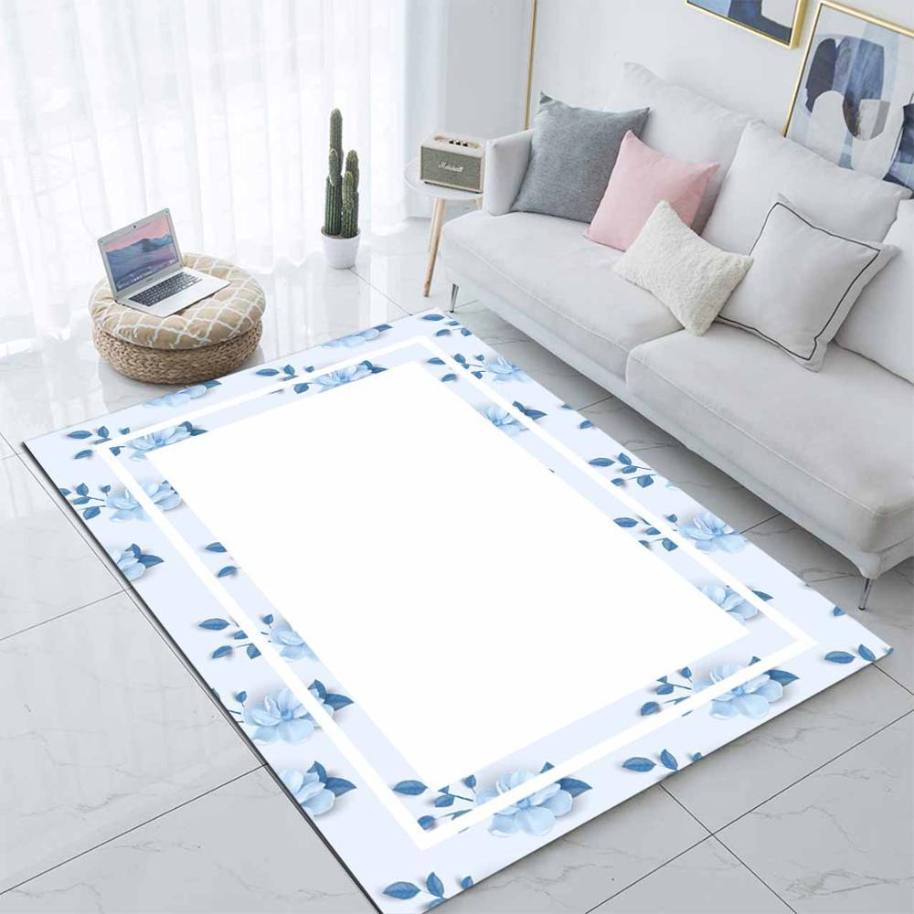 Else Blue Borders Leaves Floral Modern Nordec 3d Print Non Slip Microfiber Living Room Decorative Modern Washable Area Rug Mat