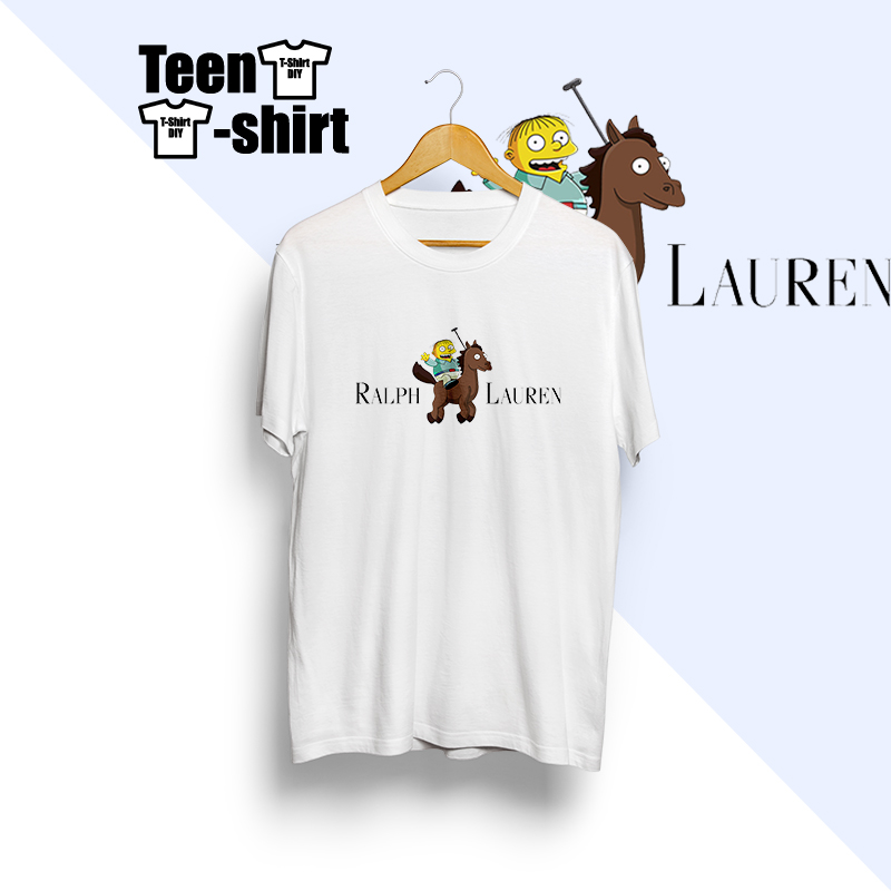 New Collection Shirts Ralph Print Design Cartoon Funny The Simpsons 100% Cotton Clothing Tops Short Sleeve For Men In White
