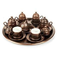 Copper Ottoman Turkish Arabic Tea <font><b>Coffee</b></font> Espresso <font><b>Cups</b></font> Mug <font><b>Set</b></font> - 6 pcs <font><b>Cups</b></font> Sauces with Tray, Sugar Bowl Made in Turkey Gift Box image