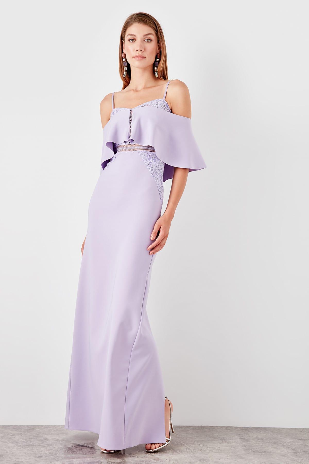 Trendyol Shawl Collar Slits Evening Dress TPRSS19AE0107
