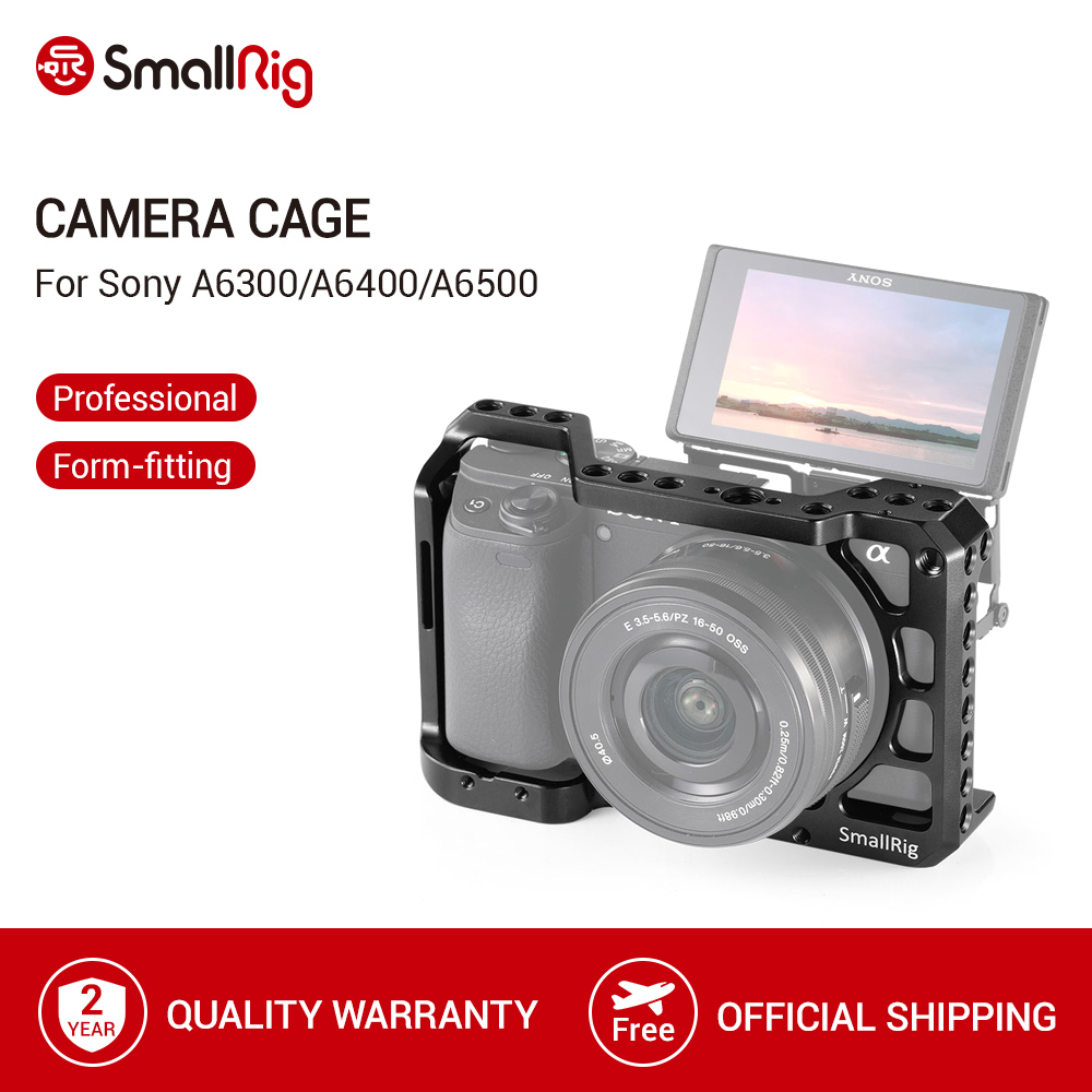 SmallRig a6400 Cage for Sony A6300  A6400  A6500 Form-Fitted DSLR Camera Cage With 1 4  And 3 8  Threading Holes - 2310
