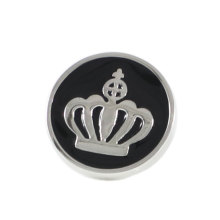 Crown Lapel Pin Black Enamel Silver Tone Crown Round Suit Pin Holiday Gifts Pins Birthday Gift Lapel Pins(China)
