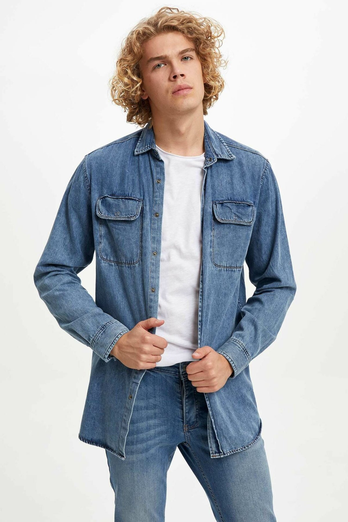 DeFacto Autumn Fashion Man Lapel Long Sleeve Denim Blue Shirt Men Casual Jeans Blouser Male Leisure Shirts - M4052AZ19AU