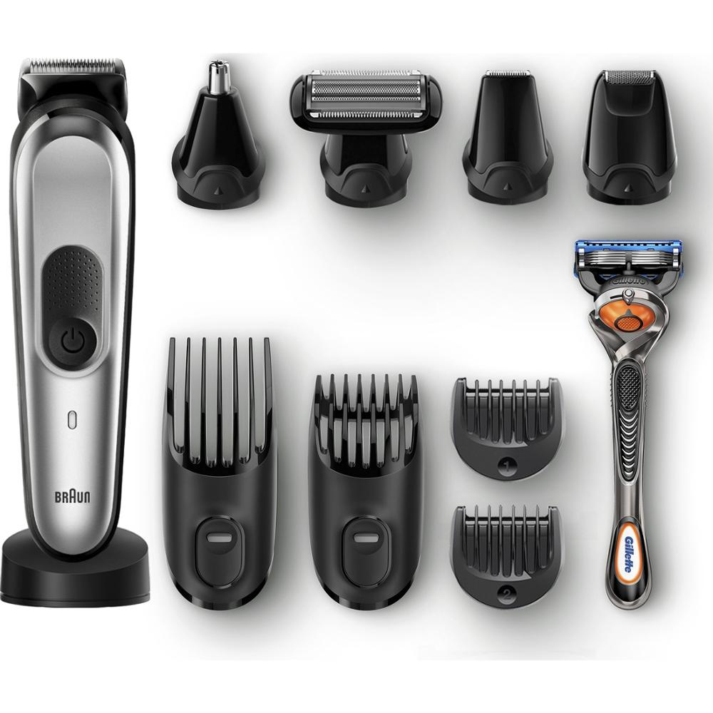 Braun MGK 7020, 10-in-1 Trimmer 8 Attachments And Gillette Fusion5 Razor Shaver, Hair Razer Set For Nose Hair Face Body