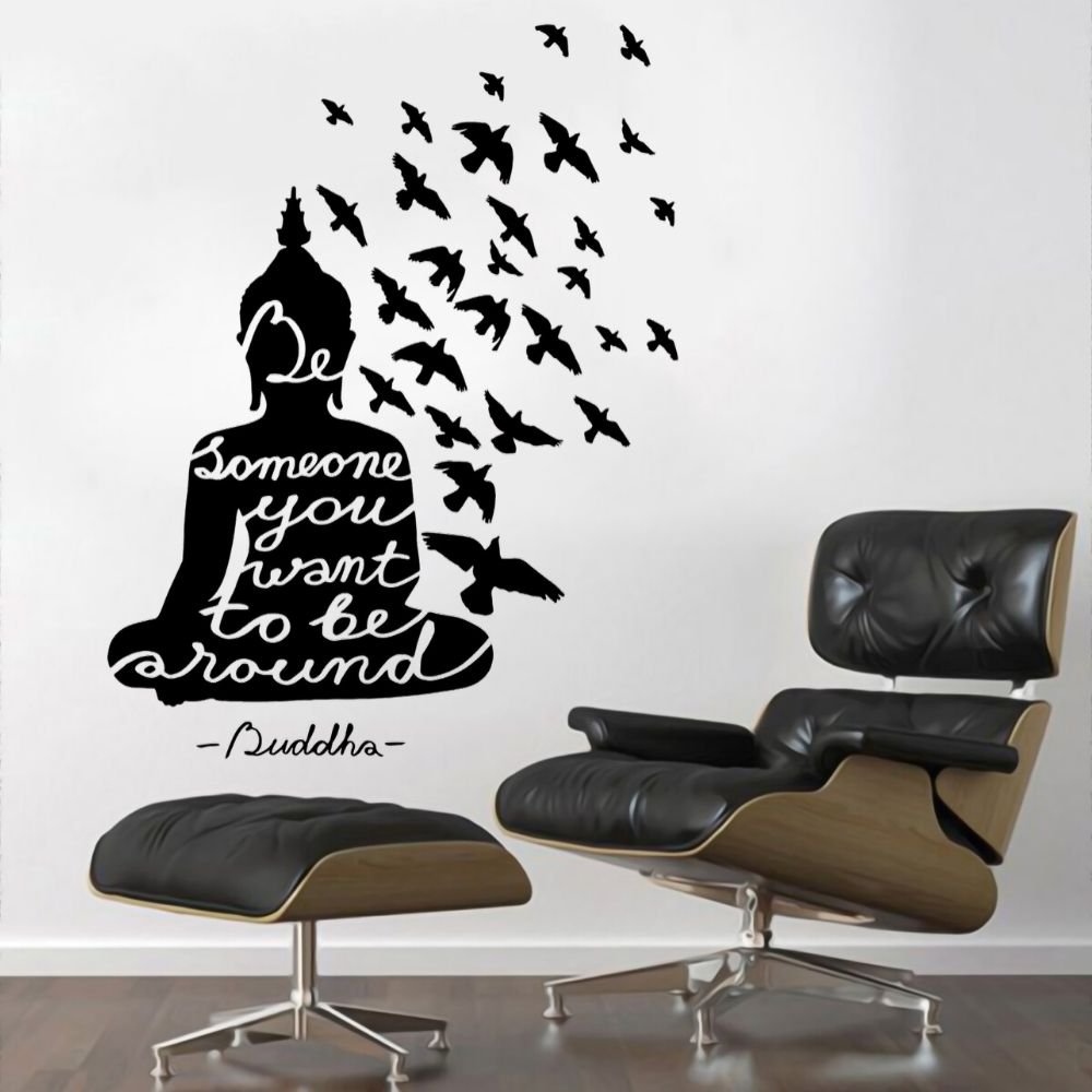 Buddha Meditation With Flying Birds Wall Decal Sticker Buddhism Zen Yoga Mural Home Room Decoration A001968