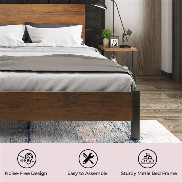 Full Size Metal Platform Bed Frame with Headboard /Footboard 4