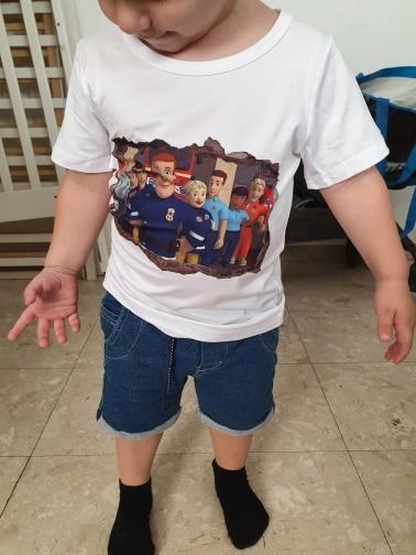New Children Cartoon Fireman Sam Printed Funny T Shirt Kids Summer Tops Baby Girls Boys Great Casual Harajuku T-shirt Round Neck photo review