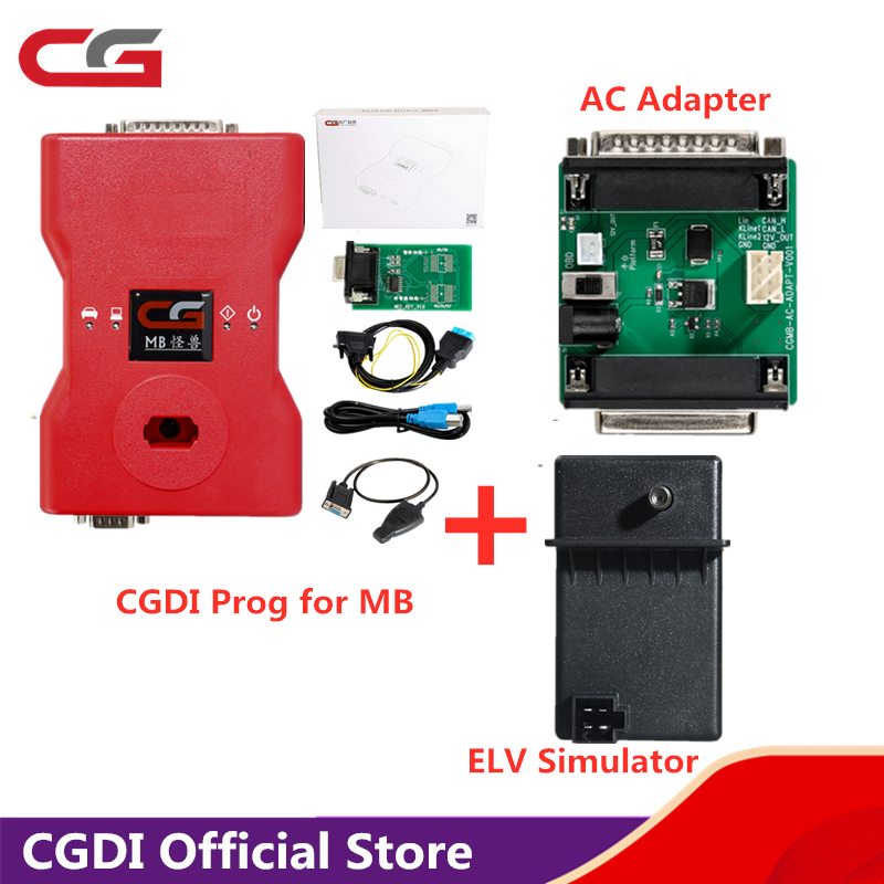 <font><b>CGDI</b></font> <font><b>Prog</b></font> for <font><b>MB</b></font> <font><b>Key</b></font> <font><b>Programmer</b></font> Global Version For Benz Support All <font><b>Key</b></font> Lost comes with ELV Simulator & AC Adapter image