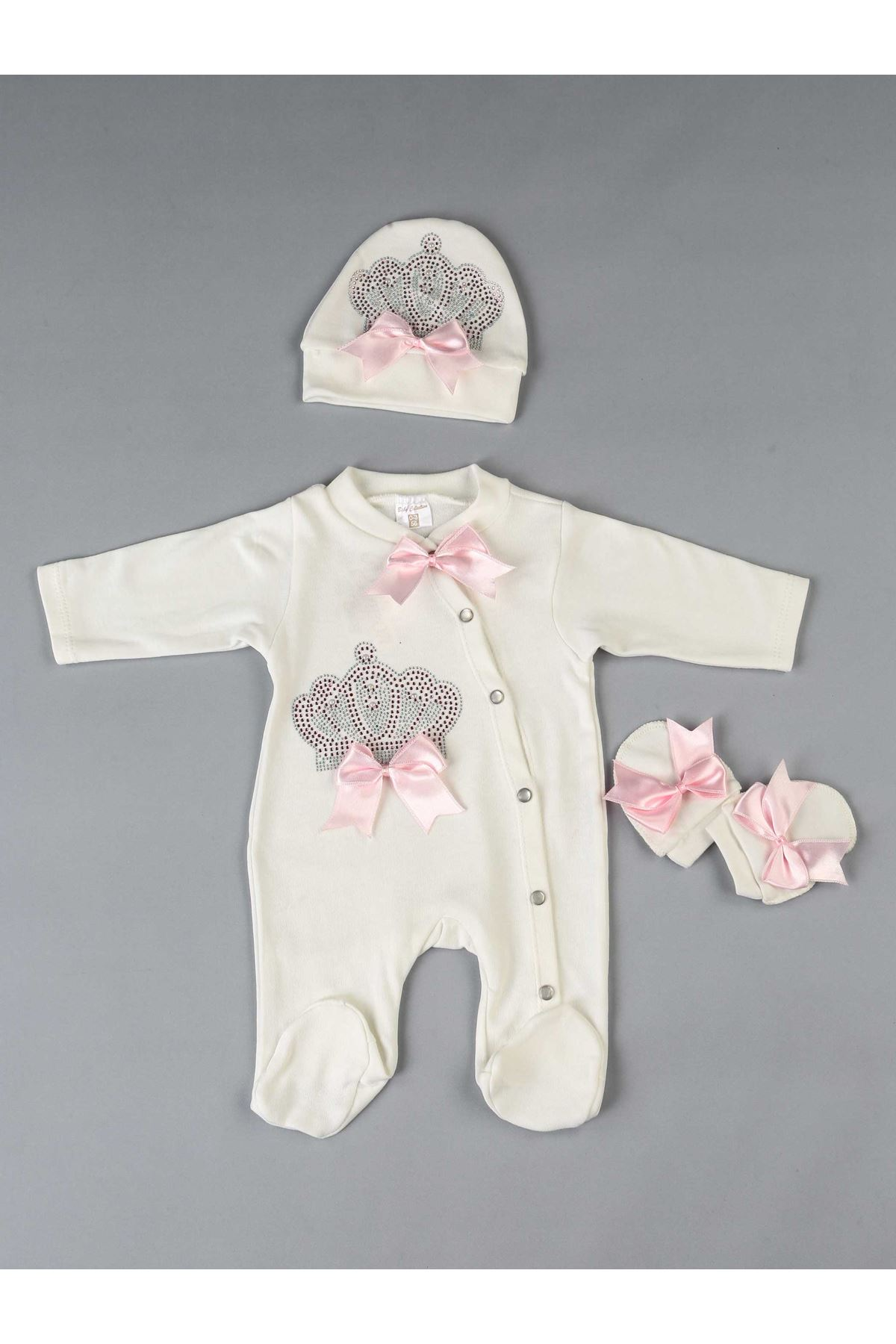 Pink Queen Crowned 3 PCs Girl Baby Jumpsuit