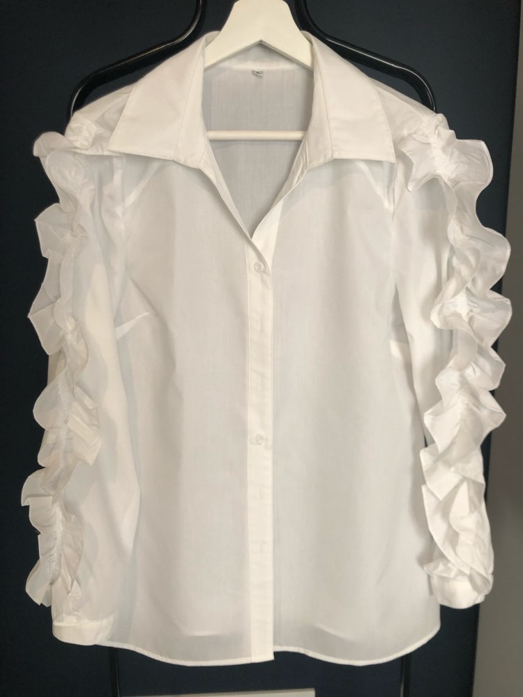 Ruffles Blouse Female Lapel Collar Patchwork Long Sleeve White Shirt Tops For Ladies Spring Ol Vintage Clothes photo review