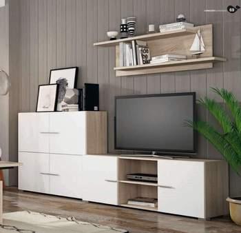 Mueble de salón completo, color cambrian y blanco, muebles de TV, apilables ref-182 1