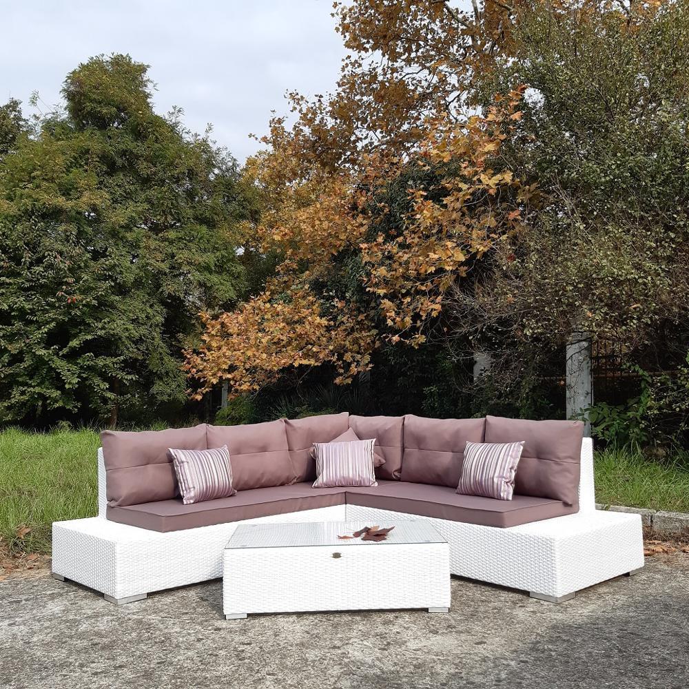 Угловой диван из искусственного ротанга DIMROSE с кофейным столиком