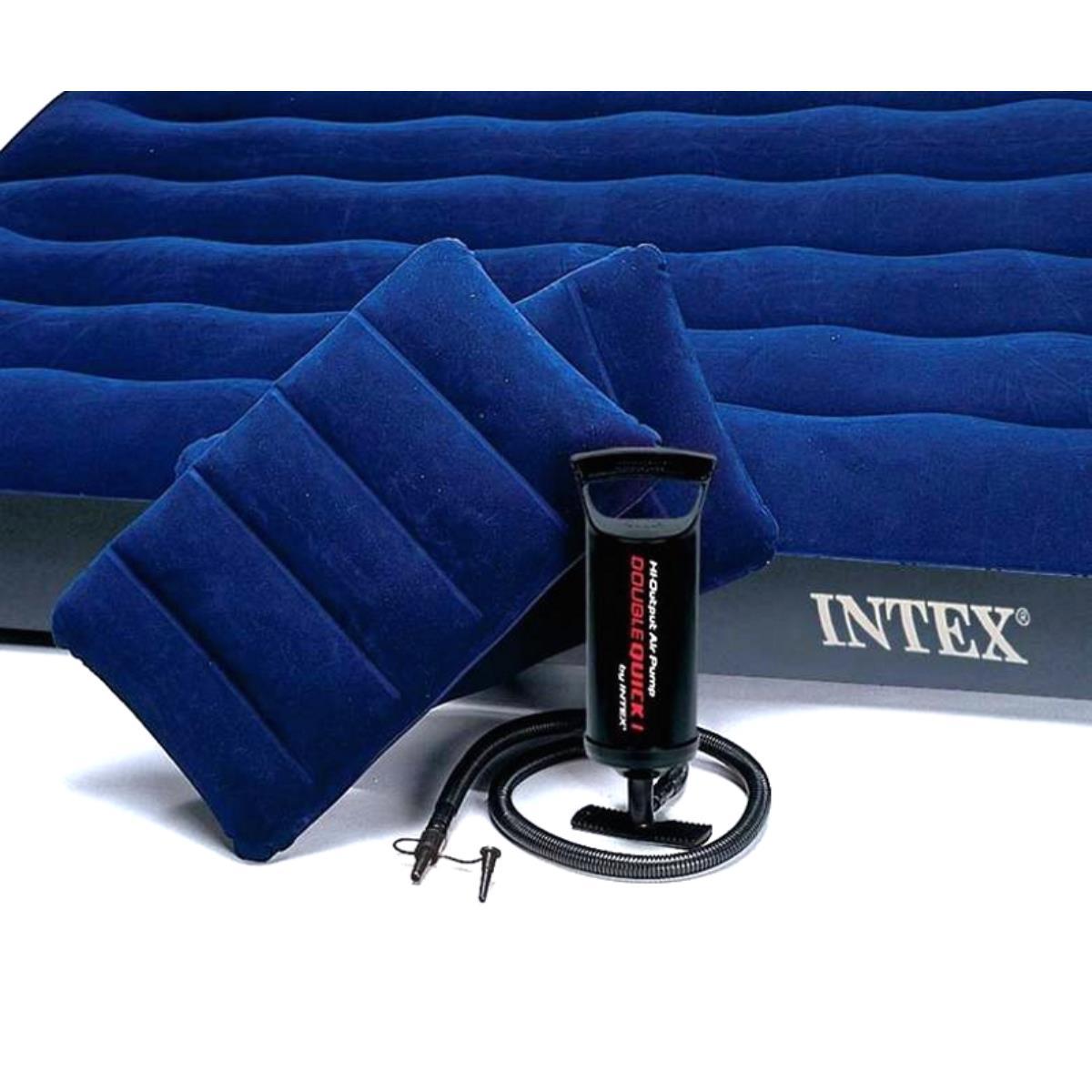 Mattress Camping Flock 152x203x25 Cm With 2 Pillows Mechanical Pump (64765) Intex