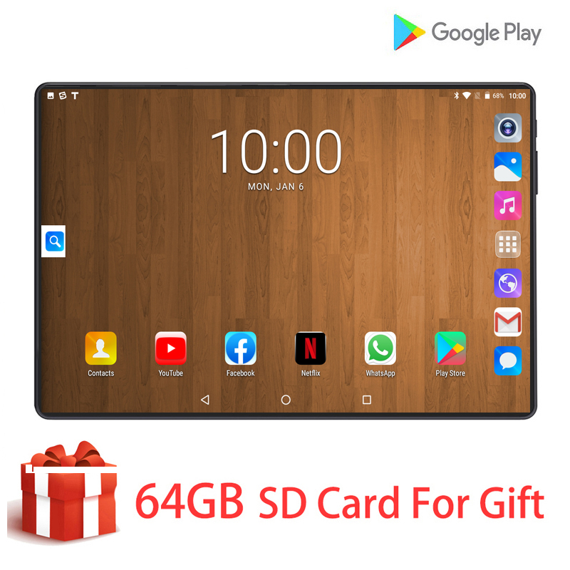 10.1 Inch Tempered Glass 2.5D Tablet Pc Octa-Core RAM 6GB ROM 128GB 4G LTE Phone Call Wifi GPS Bluetooth Sim Card Tablet Android