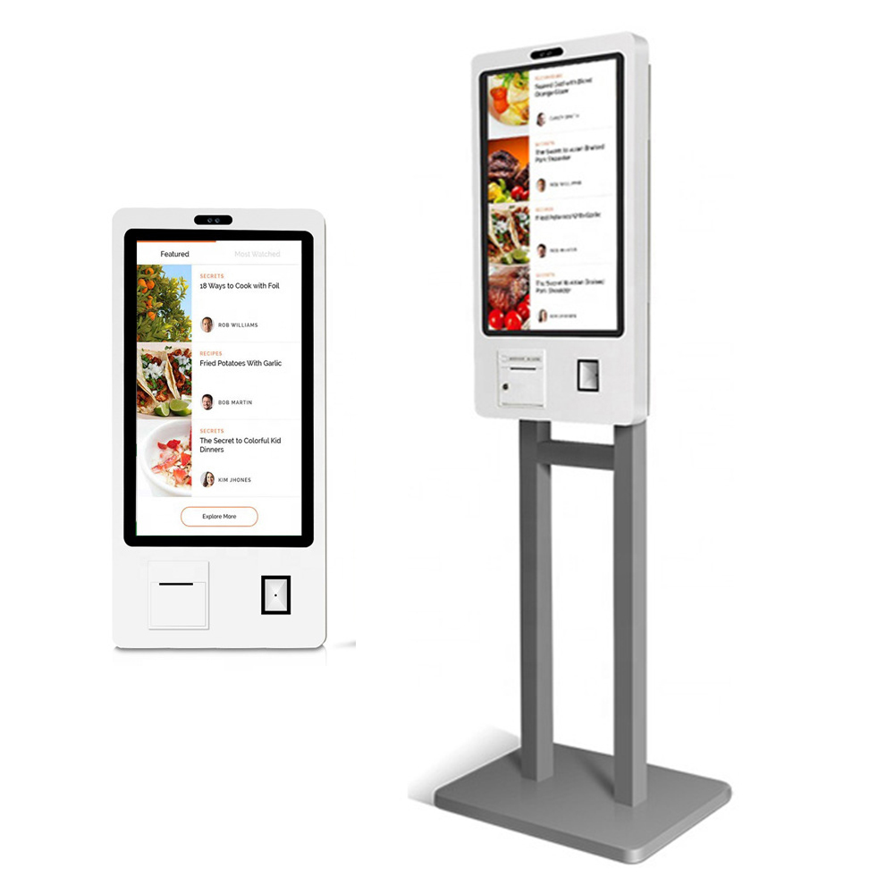 21.5 Inch Self Order Service Kiosk Stand Or Wall Mounting (RK3399 HEXA Core, 2GB DDR3, 16GB Nand Flash, Printer, Barcode Reader