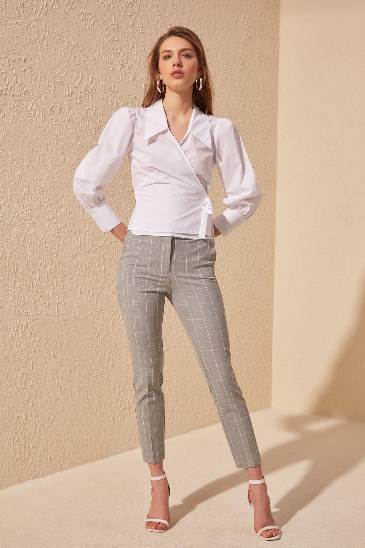 Trendyol Plaid Pants TWOSS20PL0155