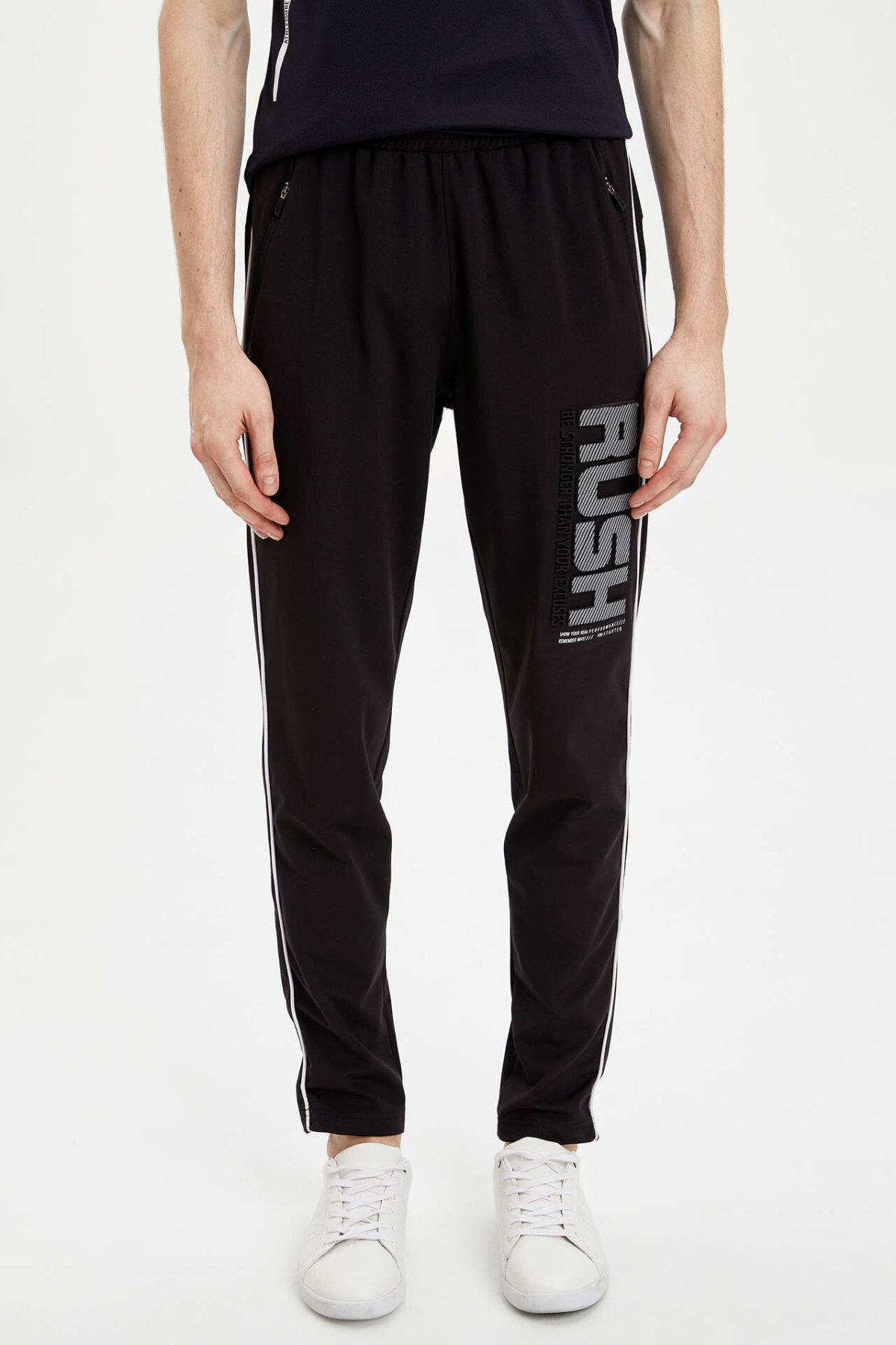 DeFacto Man Sports Wear Pant Men's Casual Black Long Pants Men's Letter Prints Bottoms Men's Trousers-N9779AZ20SP