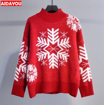 Autumn Winter Xmas Sweaters Snowflake Patterned Hippocampus Velvet Half-Turtleneck Thick Christmas Warm Jumper    Ouc057