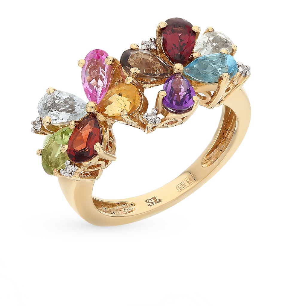 Gold Ring With Amethyst, Topaz, Garnet, Citrines And Diamonds Sunlight Sample 585