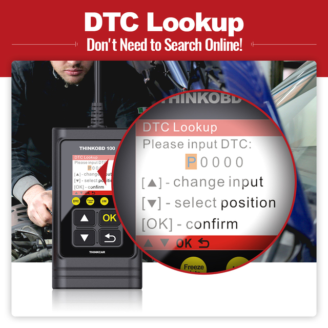 THINKCAR THINKOBD100 DIY OBD2 Code Reader Scanner OBD 2 Full Car Diagnostic Scanner Turn Off Engine Light OBDII Automotive Tools