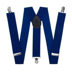 Подтяжки для брюк широкие (3.5 см, 3 клипсы, Синий) 50825