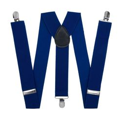 Suspenders for trousers wide (3.5 cm, 3 clips, blue) 50825