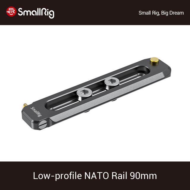 "SmallRig Low profile 90 มม.ยาว NATO Rail หนา 6 มม.Quick NATO Rail 1/4 "" 20 หลุมสำหรับ NATO CLAMP/Handle 2484"