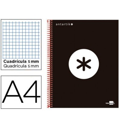 SPIRAL NOTEBOOK LEADERPAPER A4 MICRO ANTARTIK LINED TOP 120H 100 GR CUADRO5MM 5 BANDS 4 HOLES COLOR BLACK
