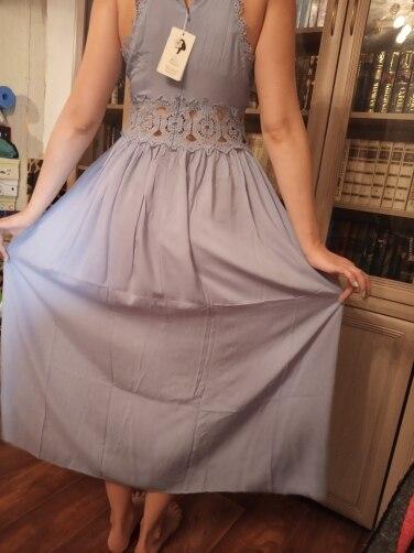 Elegant Backless Strap Long Dress Women Hollow Out Evening Summer Beach Dress Party Sexy Blue Maxi Dresses Vestidos Sundress photo review
