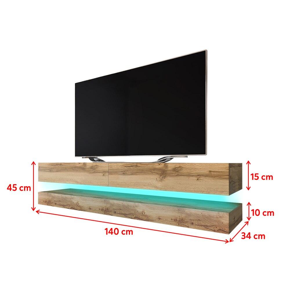 HYLIA Meuble TV suspendu (140 cm, chêne wotan avec LED) 5