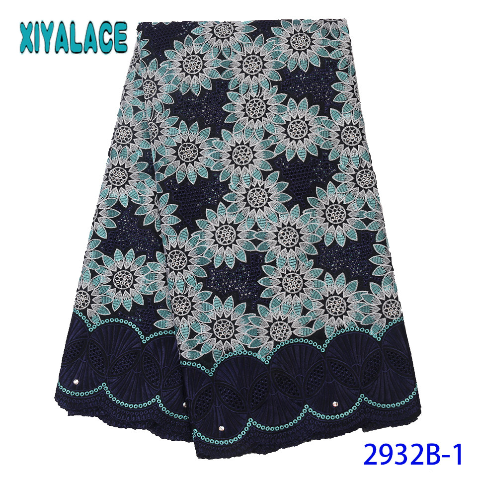 2019 Lace Materials For African,Latest Dry Lace Fabrics,High Quality Embroidery Cotton Lace Fabric With Stones KS2932B-1