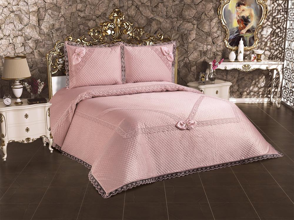 Bedding Cover Set Double Pink Powder Color 3Pcs