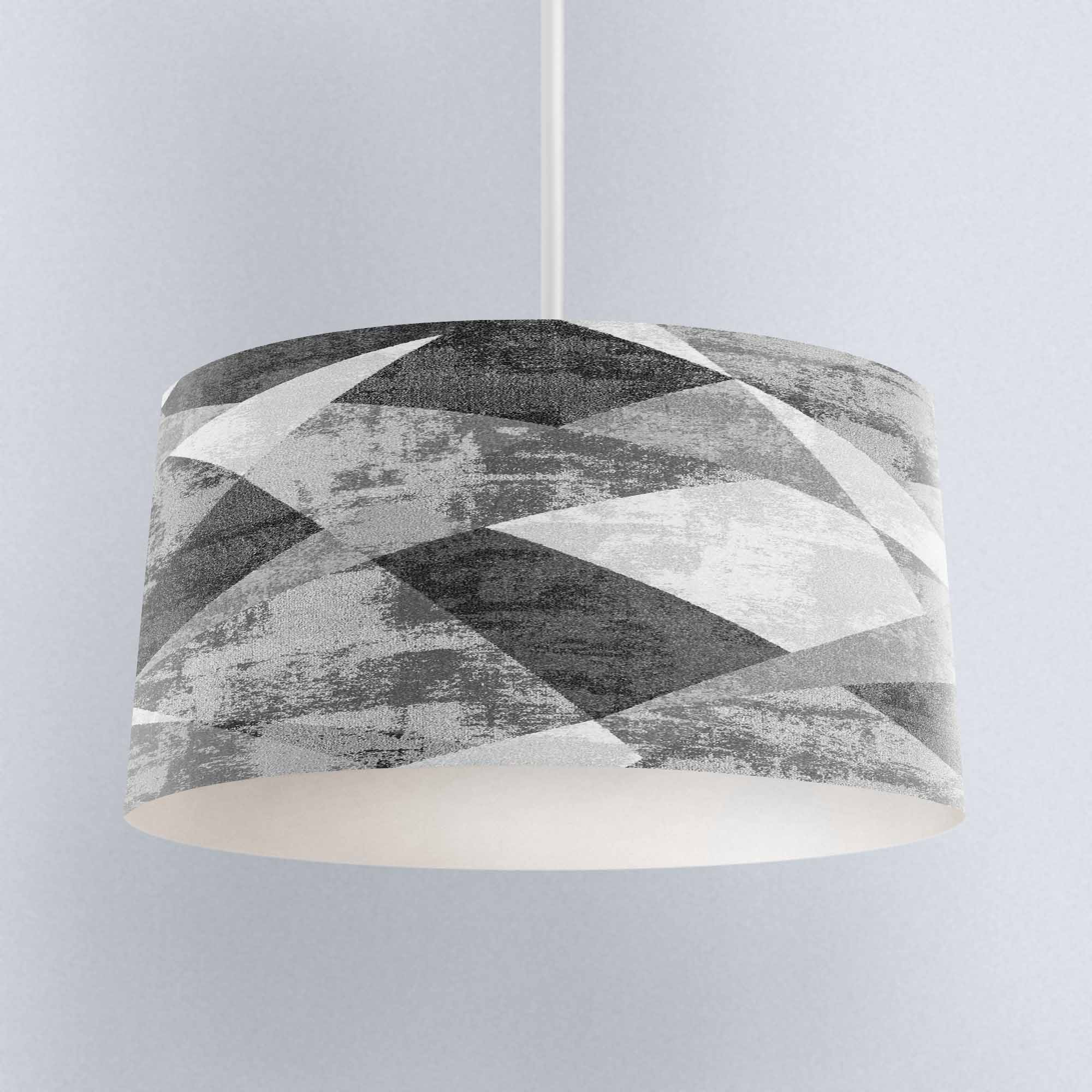 Else White Gray Patchwork Watercolor Digital Printed Fabric Chandelier Lamp Drum Lampshade Floor Ceiling Pendant Light Shade