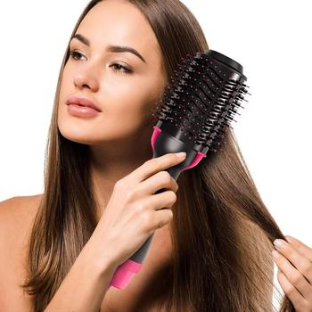 Electric Professional Hair Dryer Comb Infrared Negative Ion Hot Air Comb Straight Curling Hair Comb Hairdryer 1
