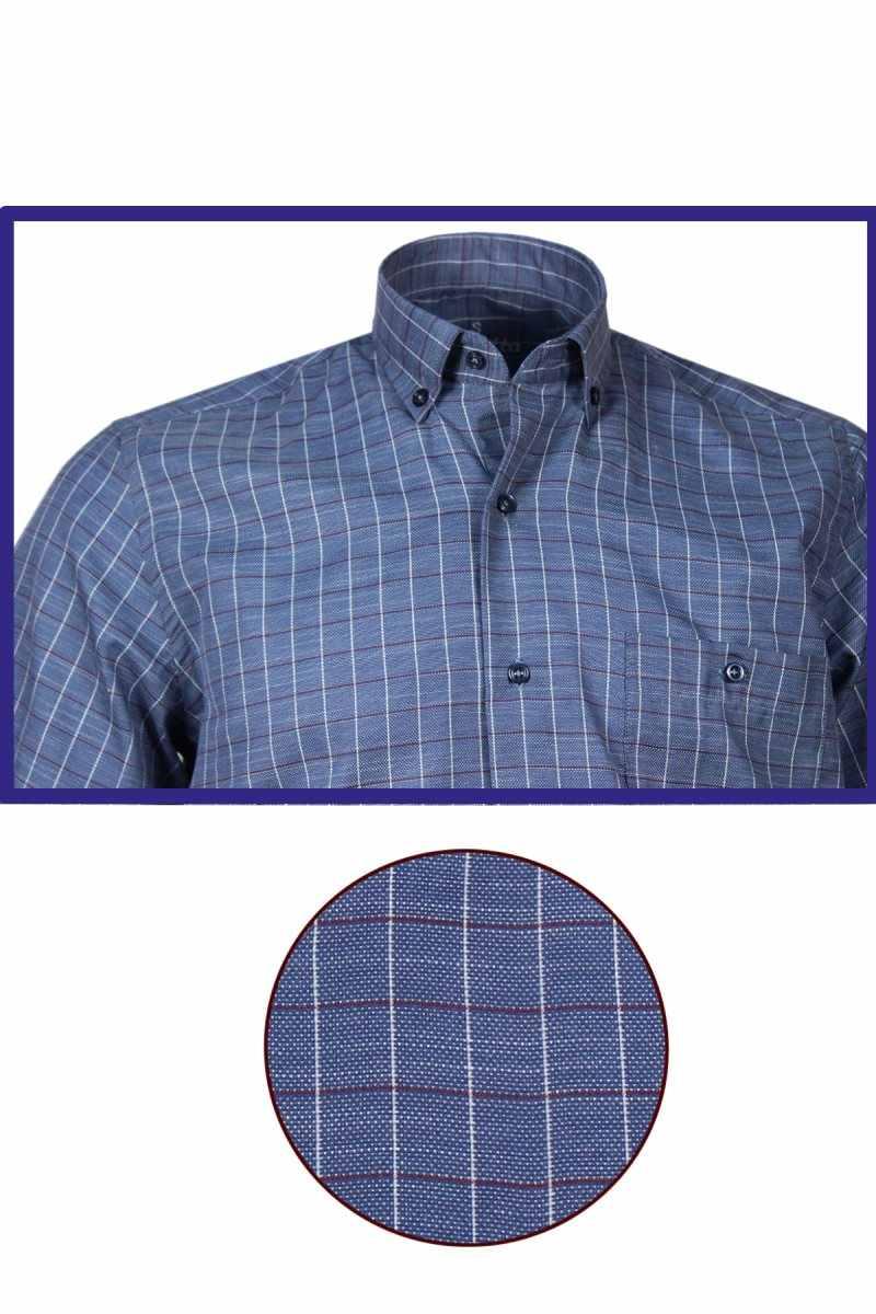 Varetta 男性のシャツ夏の綿リネンシャツ男性ダークブルーシャツ正規カジュアルシャツチェック柄半袖男性シャツ七面鳥