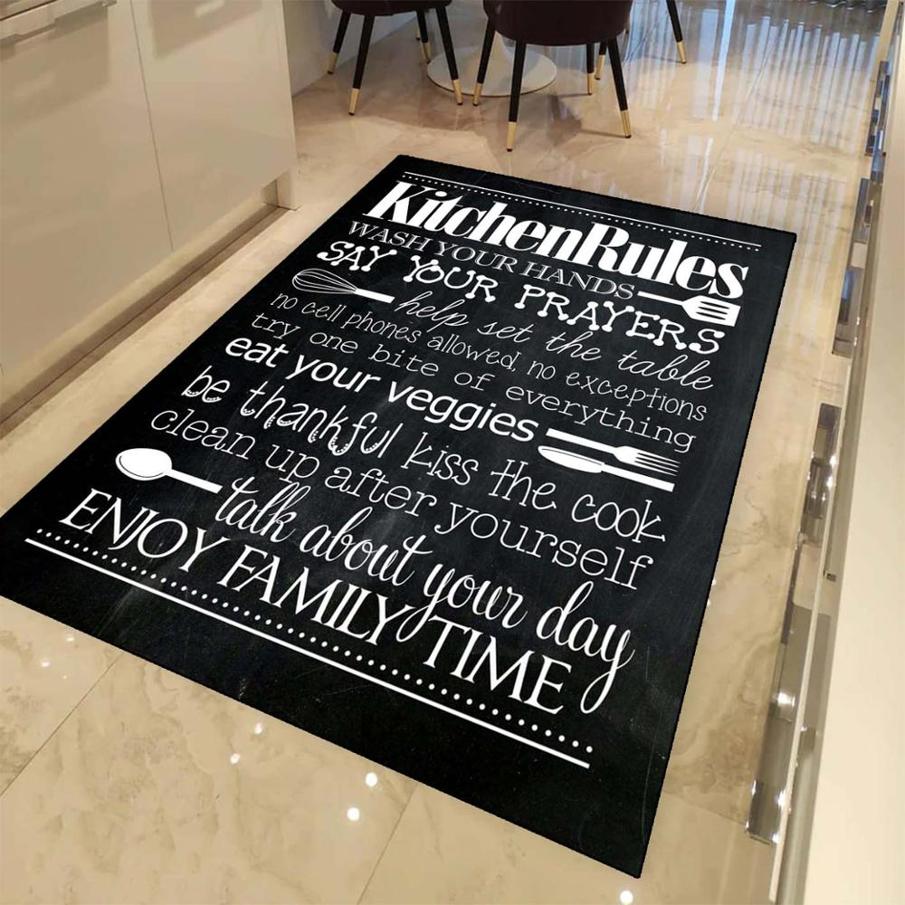 Else Black Board On Writen Kitchen Rules 3d Print Non Slip Microfiber Kitchen Modern Decorative Washable Area Rug Mat