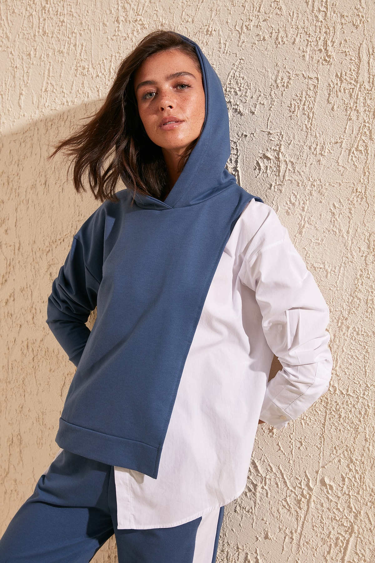 Trendyol Poplin Detailed Hooded Basic Knitted Sweatshirt TWOSS20SW0084
