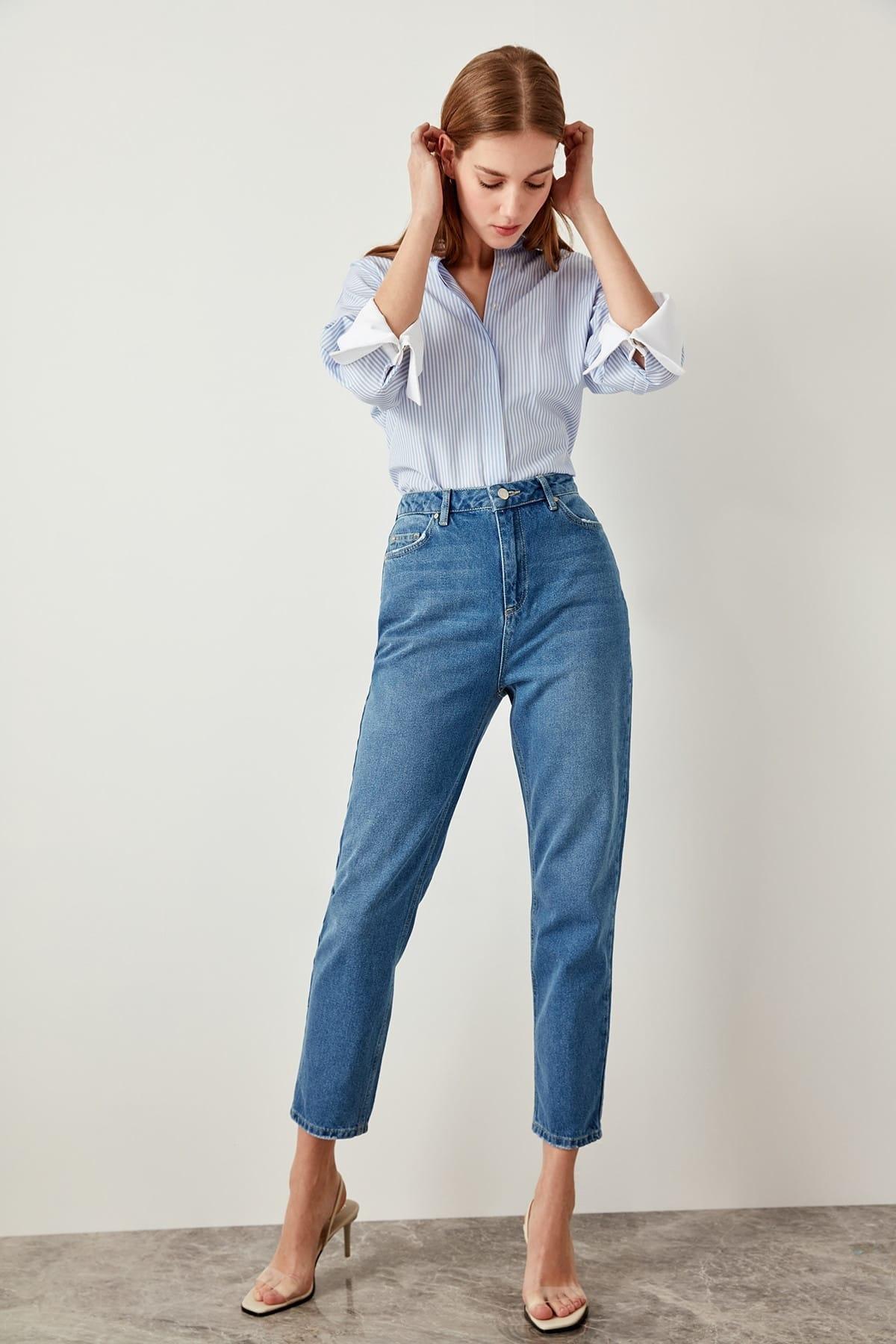 Джинсы с высокой талией для мам, повседневные Прямые джинсы TCLSS19LR0047 синего цвета Джинсы      АлиЭкспресс