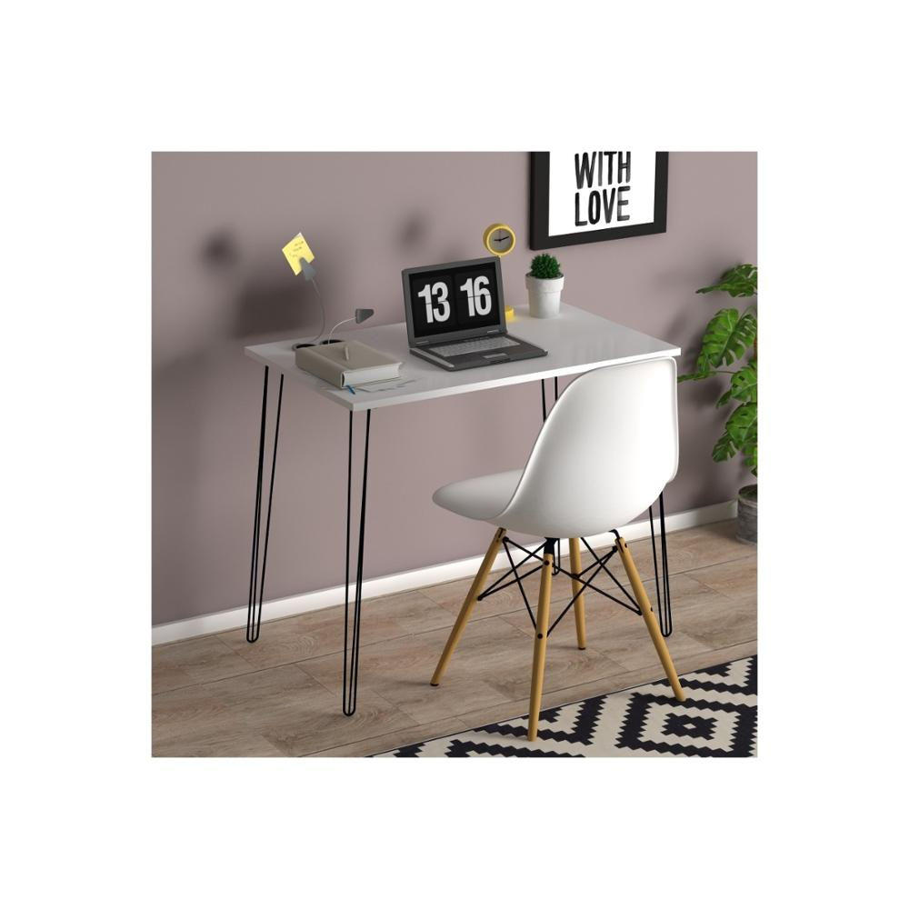 - MADE IN TURKEY White Dining Table Solid Wood Metal Legs Computer