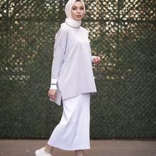 Butik Melike prążkowana krótka tunika damska tunika 2021 nowości hidżab abaya moda muzułmańska zestawy islamska odzież modlitewna odzież