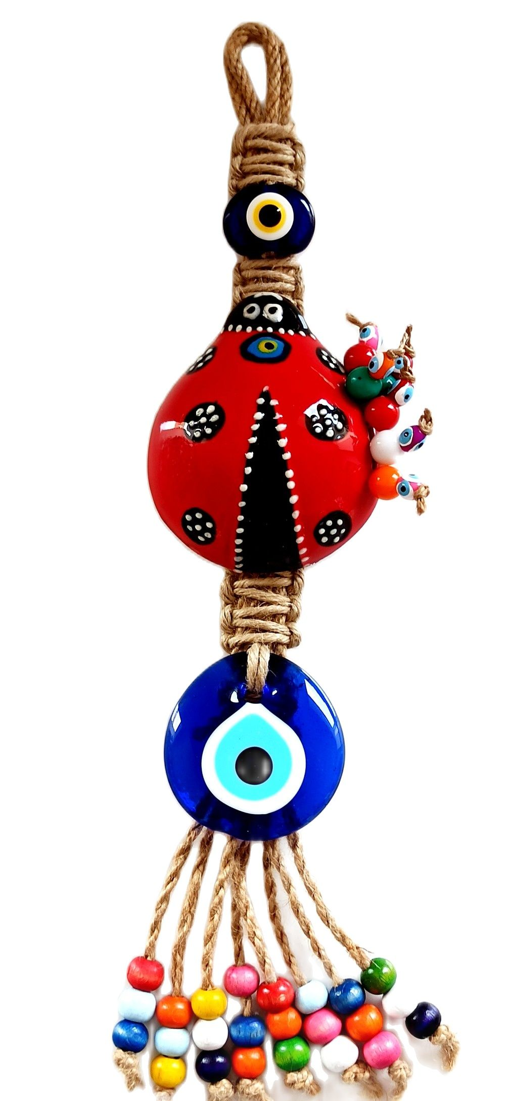 Red Ladybug Evil Eye Beads Ceramic Small Size Handmade Wall Ornament