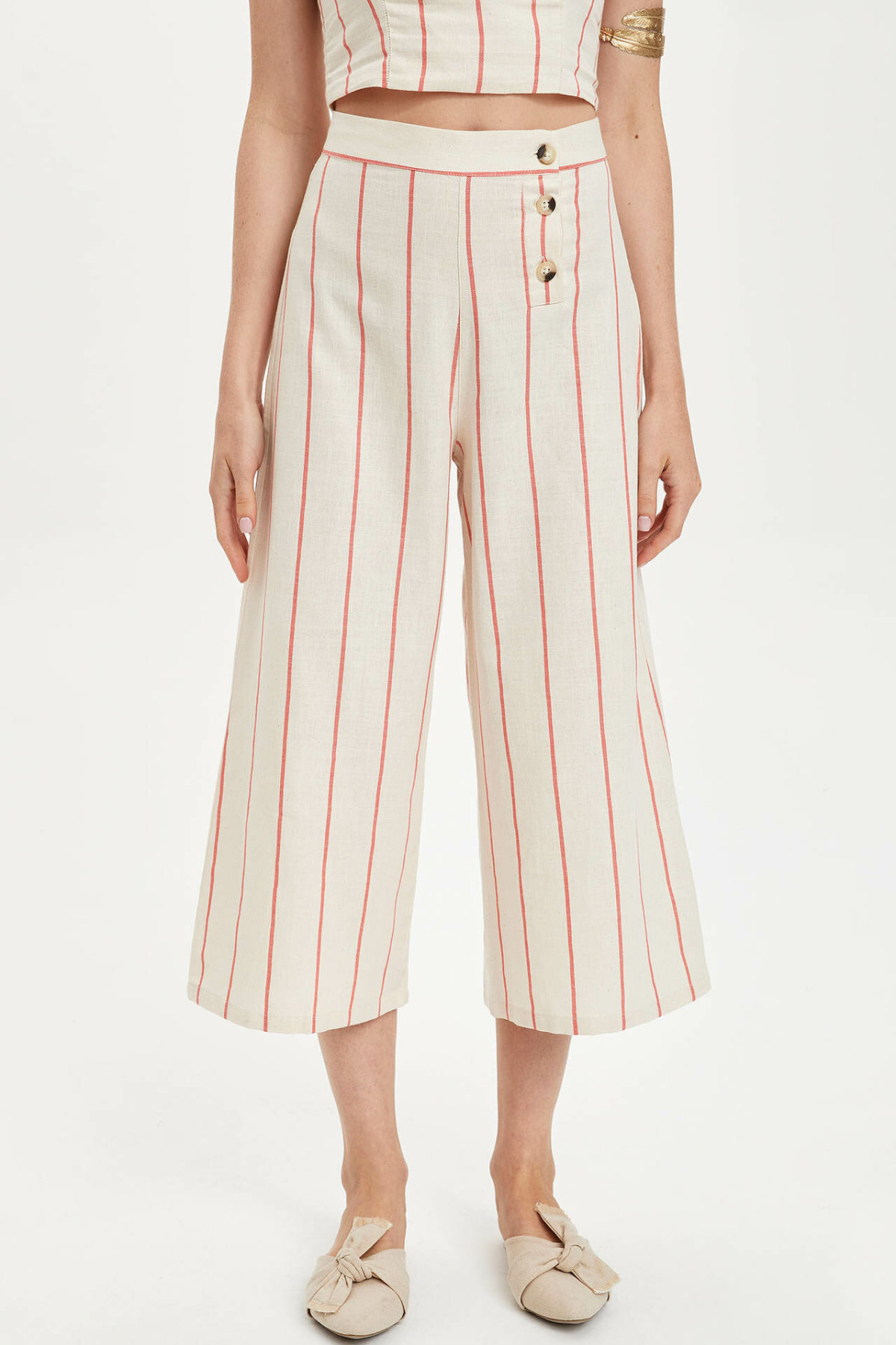 DeFacto Fashion Woman Elegant Trousers Female Striped Wide-leg Crop Pants Ladies Casual Button Comfort Spring - L9749AZ19HS
